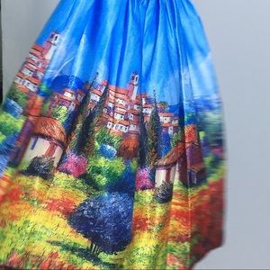 Skirt with European landscape painting